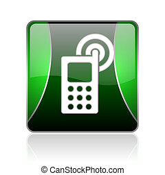 cellphone, nero, verde, quadrato, web, lucido, icona