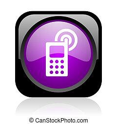 cellphone, nero, viola, quadrato, web, lucido, icona