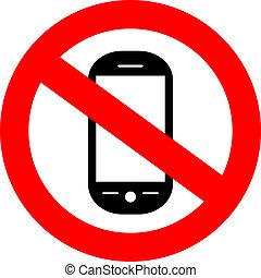 cellphone, nie, znak