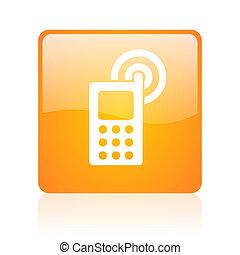 cellphone orange square glossy web icon
