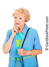 cellphone, oude vrouw, -, bezorgd