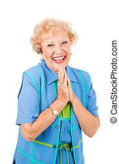 cellphone, oude vrouw, -, extatisch