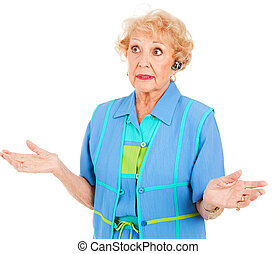 cellphone, oude vrouw, -, het verklaren