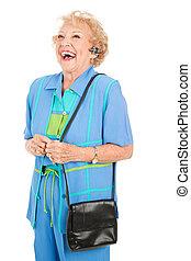 cellphone, oude vrouw, -, lachen