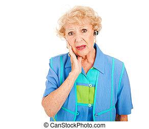 cellphone, oude vrouw, -, omgooien
