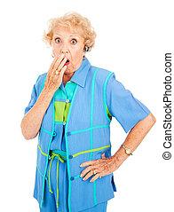 cellphone, oude vrouw, -, schok