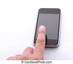 cellphone, palec