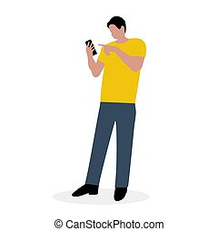 cellphone., plat, man, vector, illustratie, ontwerp, spotprent