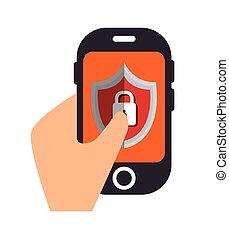 cellphone, proteção, dados, escudo, fechadura