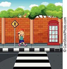 cellphone, ragazza, strada, ciarlare