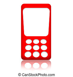 Cellphone - Red mobile phone with blank screen isolated over...