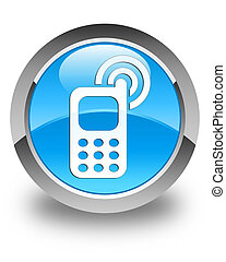 Cellphone ringing icon glossy cyan blue round button