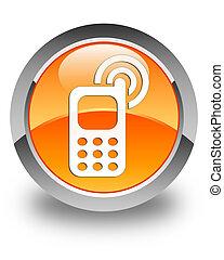 Cellphone ringing icon glossy orange round button