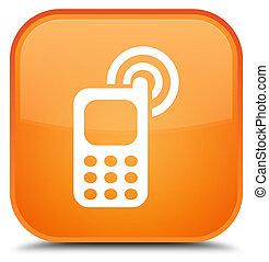 Cellphone ringing icon special orange square button