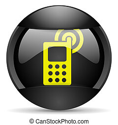 cellphone round black web icon on white background