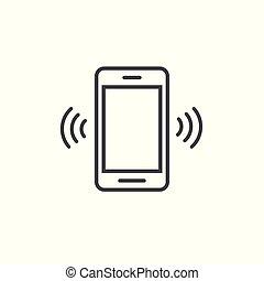 cellphone, smartphone, art, sonner, mobile, symbole, pictogramme, vibrer, ou, téléphone, vecteur, appeler, icône, conception, anneau, ligne, contour