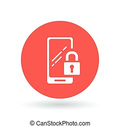 cellphone, smartphone, assicurare, mobile, serratura, segno...
