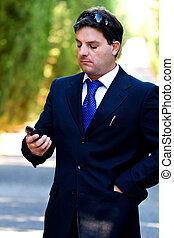 cellphone, straat, zakenmens