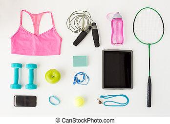 cellphone, tabliczka, do góry, lekkoatletyka, materiał, pc, zamknięcie