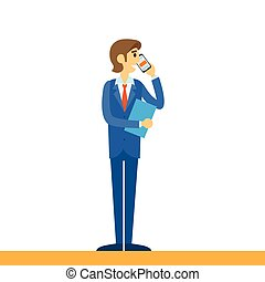cellphone, telefon, ruchomy, mówiąc, biznesmen, używając, ...