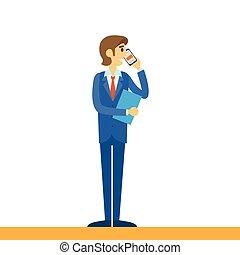 cellphone, telefone, móvel, falando, homem negócios, usando...