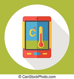 cellphone, thermomètre, plat, icône