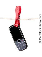cellphone, varal, penduradas