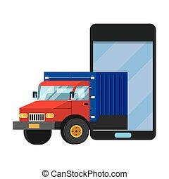 cellphone, vecteur, camion, illustration
