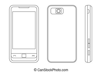 vector illustration of a cellphone (black outline)