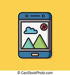 cellphone, vector, roepen, pictogram