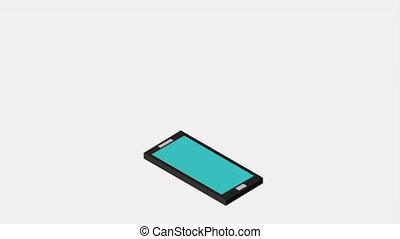 cellphone, vidéo, animation, icône, conception