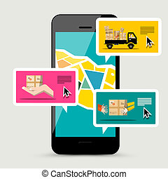 Cellphone with Delivery Service App. Vector Illustration of Parcels, Van and Mobile Phone Application with Map Tracking Order.