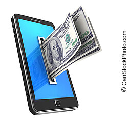 Cellphone with dollars - Modern phone with dollars isolated...