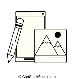 cellphone with pencil and mountain picture black and white