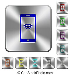 Cellphone with wireless network symbol rounded square steel buttons