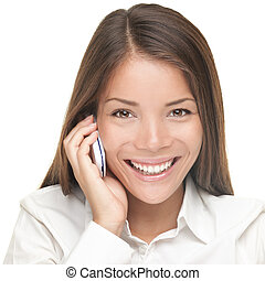 Cellphone woman - Woman talking on cellphone - Portrait of...