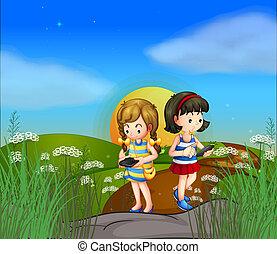 cellphones, 女の子, 2, ∥(彼・それ)ら∥, 使うこと, 丘の上