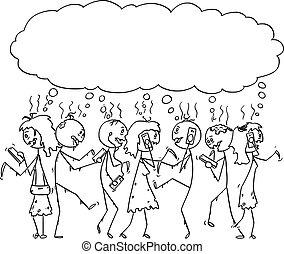 cellphones, 歩くこと, ベクトル, 群集, 人々, 移動式 電話, 死んだ, 漫画, 通り, zombies, 常習している, 使うこと, ∥あるいは∥