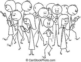 cellphones, 歩くこと, ベクトル, 群集, 人々, 移動式 電話, 漫画, 通り, 使うこと, ∥あるいは∥
