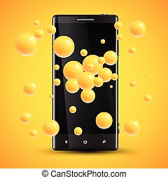 Cellphone's enhanced saturation presentation by colorful spheres behind, vector illustration
