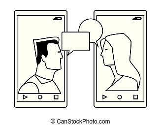 cellphones showing a couple black and white
