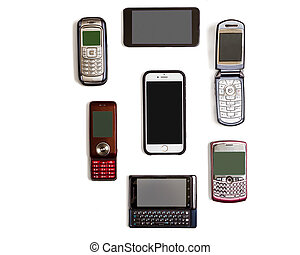 cellphones - Variety of different generation and types of...