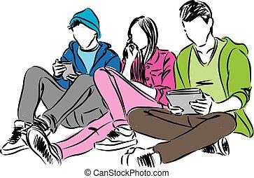 cellphones, tablet, illustratie, tieners