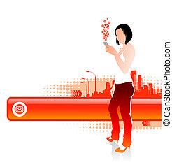 cellphones, texte, cadre, -, illustration, vecteur, cityscape, girl, paysage
