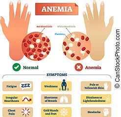 cells., anémie, étiqueté, vecteur, sanguine, plan, rouges, illustration.