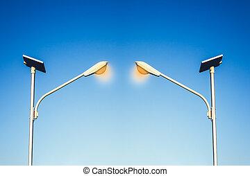 cellula, lampada, strada, natura, ecologia, power., usando, tecnologia, solare