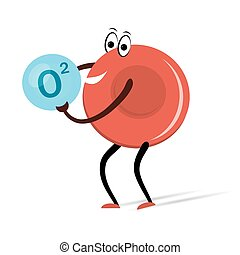 cellula, rosso, sangue, ossigeno, cartone animato