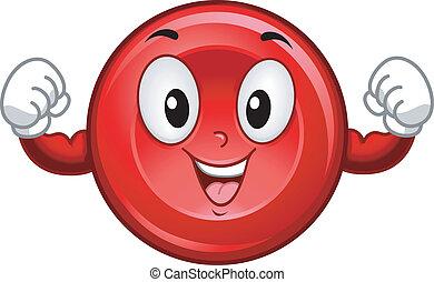 cellula, sangue, rosso, mascotte
