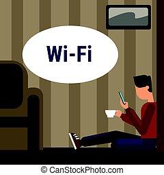cellula, uso, pavimento, wifi, internet, telefono fili, collegamento, attraverso, linea, casa, seduta, far male, uomo