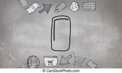 cellulaire, croquis, téléphone